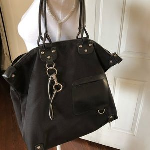 Bally canvas and leather black large tote bag